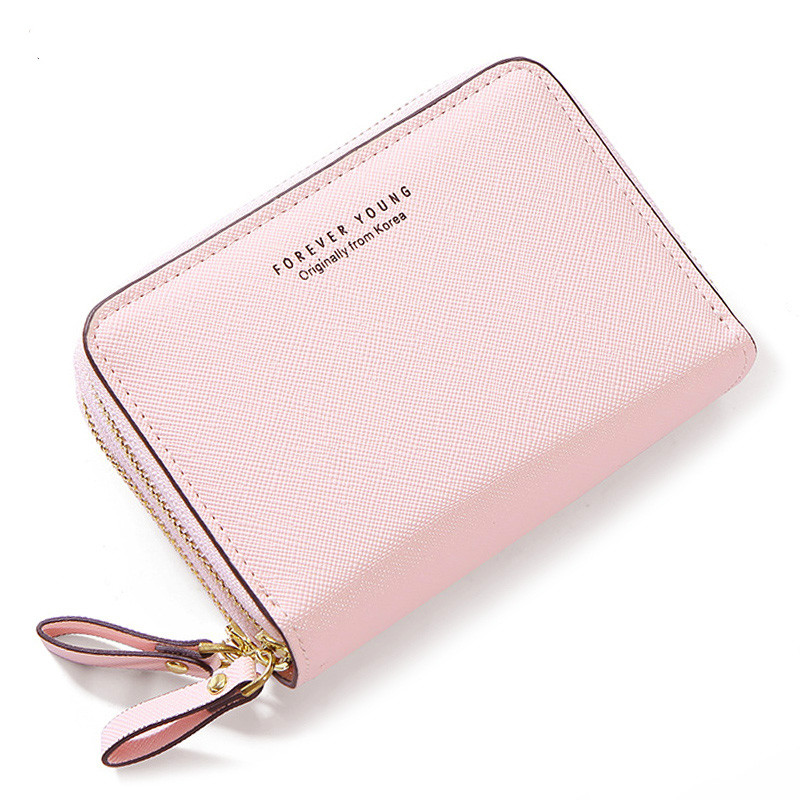 Double Zipper Women Wallets Synthetic Leather Small Wallets And Purse Female Card Holder Coin Pocket Ladies Short Clutch