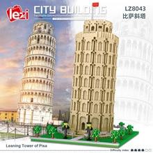 LEZI LZ8043 Miniature Diamond Small Particle Model Series Leaning Tower of Pisa Modular Building Blocks Bricks Children's Toys