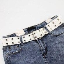 Модные широкие холщовые ремни повседневные двойные полые пряжки ремень Регулируемый пояс однотонного цвета ремень для женщин и мужчин подростковые джинсы