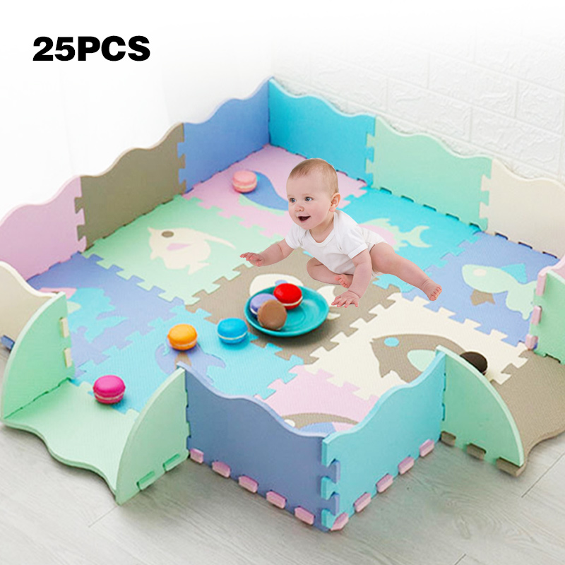 EVA Foam Play Mat With Fence Baby Puzzle Jigsaw Floor Developing Mats Thicken Carpet Pad Toys For Kids Educational Activity Pad