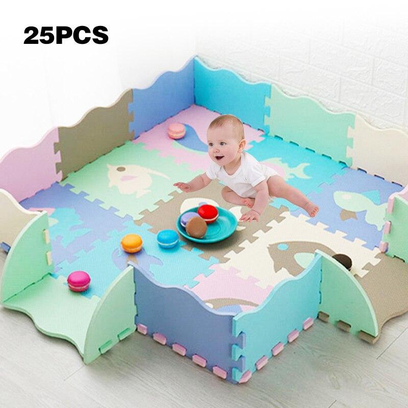 eva espuma jogar esteira com cerca bebe quebra cabeca jigsaw piso desenvolvimento esteiras engrossar tapete almofada