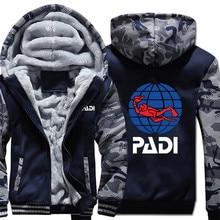 Scuba driver Padi Hoodies Camouflage sleeve Jacket Hoody Zipper Winter Fleece PADI Sweatshirt
