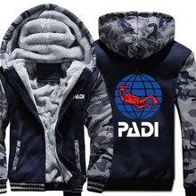 Scuba driver Padi bluzy z długimi rękawami moro kurtka z kapturem na zamek błyskawiczny zimowa bluza z polaru PADI