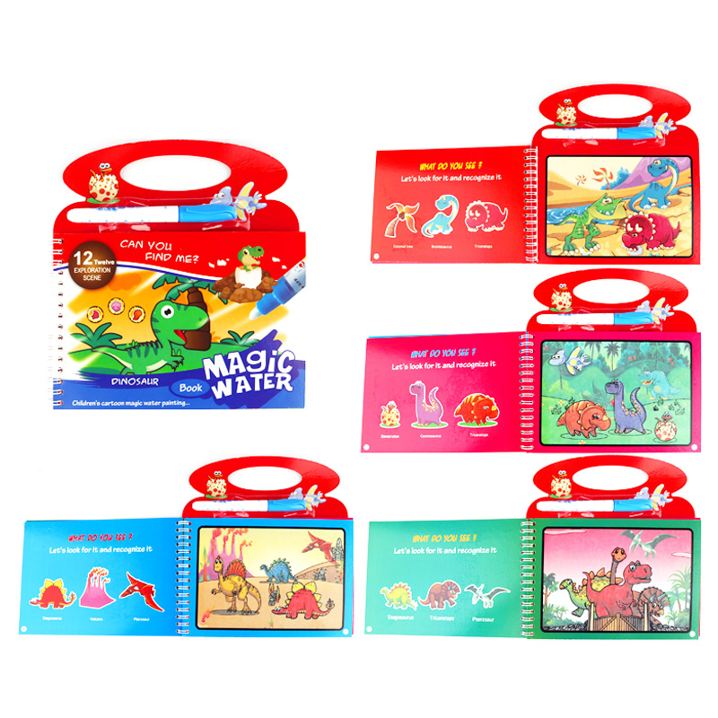 Reusable Magic Water Drawing Coloring Book Cartoon Doodle With Drawing Toys For Kids Learning Education Painting Board Baby Gift