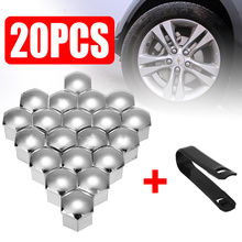 Mayitr 20pcs Silver 21mm Universal Car Wheel Nut Caps Auto Hub Screw Cover Bolt Rims Exterior Socket Protector+Removal Tool