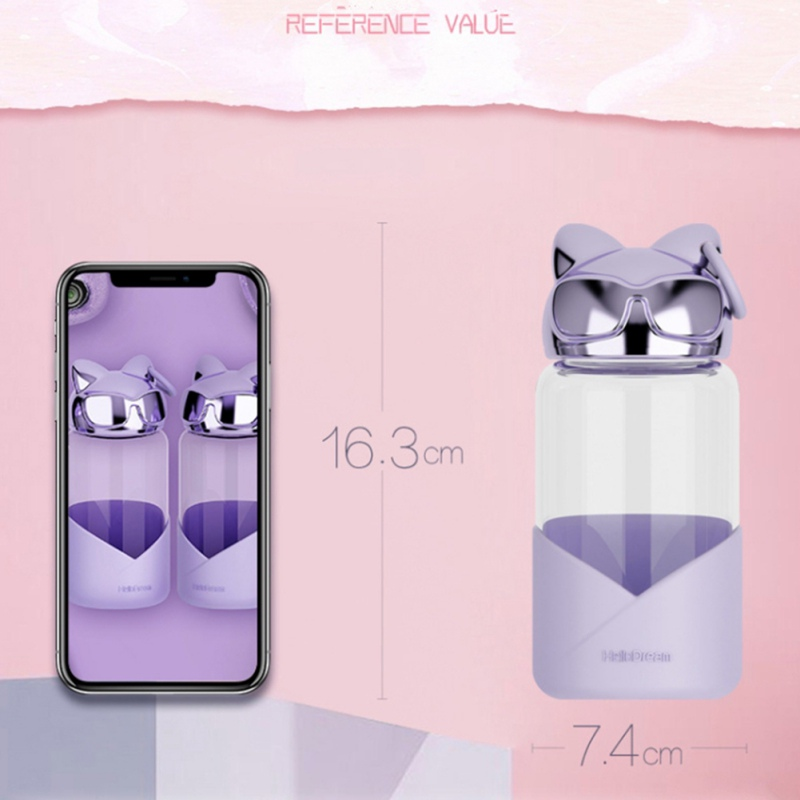 Cute Fox Head Shape Glass Bottle Juice Lemon Water Bottle with Stainless Steel Strainer for Outdoor Travel Tour Hiking in Water Bottles from Home Garden