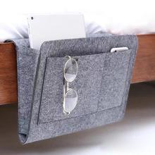 Felt Bedside Caddy Storage Bag Wardrobe Bed Skirt Storage Pocket Organizer Hanging Table Sofa Bedroom Holder Bag Home Decoration