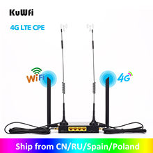 KuWFi Router 300Mbps Industrial Router CAT4 4G CPE Router Extender Strong Wifi Signal Soport 32Wifi usuarios con ranura para tarjeta Sim(China)