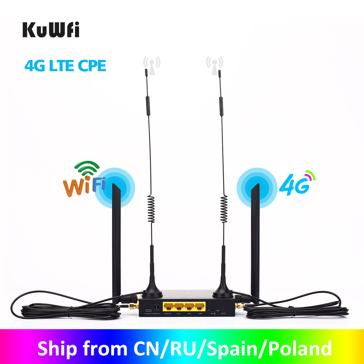 KuWFi Router 300Mbps Industrial Router CAT4 4G CPE Router Extender Strong Wifi Signal Support 32Wifi users With Sim Card Slot