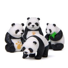 Panda Style Creative Crafts Home Decoration Accessories Modern Livingroom Desk Party 4 PCS Kawaii Cabochons Figurines Miniatures