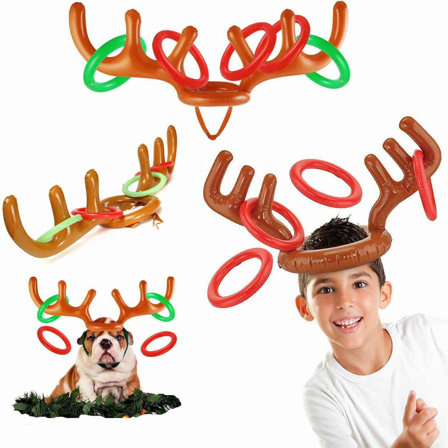 Family Party Toss Game Inflatable Reindeer Antler Hat With Rings Throwing Circle Toys Fun Santa Game Christmas Home Decorate