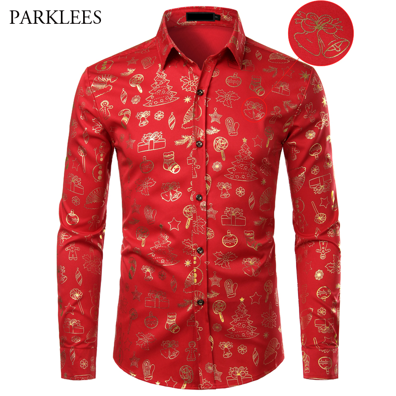 Red Mens Christmas Shirt Casual Slim Fit Xmas Gift Print Mens Dress Shirts Long Sleeve Button Down Chemise Homme Top Blouses XL
