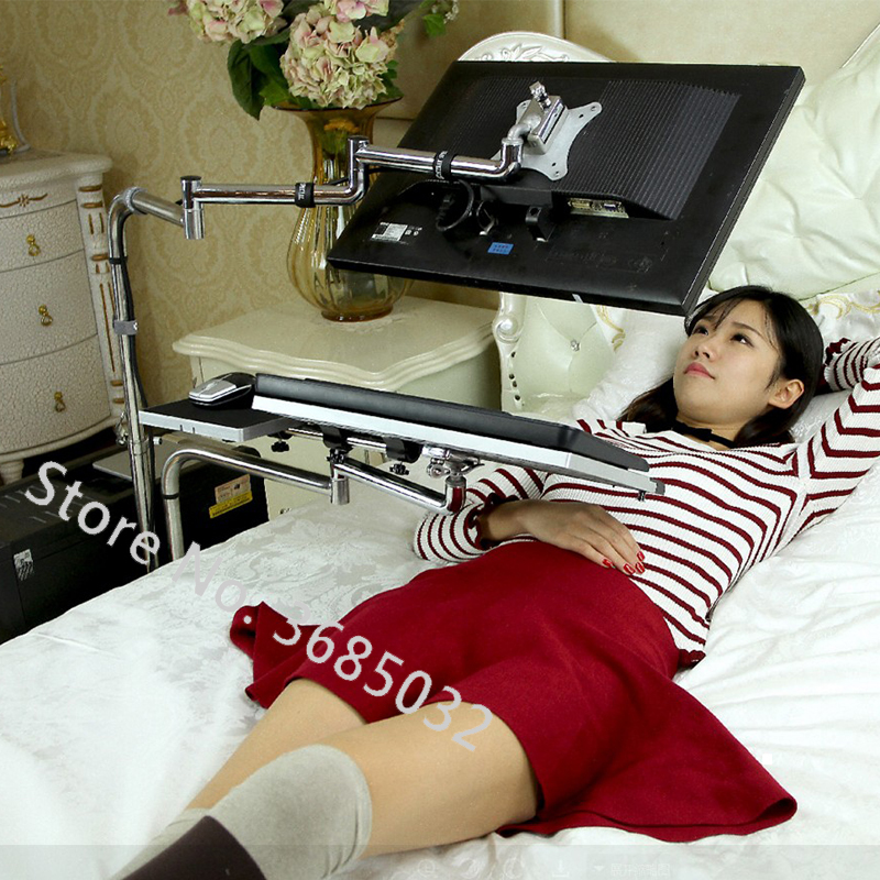 Bedside Moving PC Computer Stand Adjustable Sofa Computer Monitor Holder Mount +Keyboard Holder Rotating Laptop Table Lapdesks