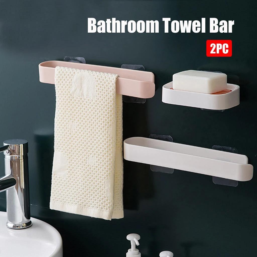 Kitchen Bathroom Towel Bar Self Adhesive Wall Mounted Hanging Holder Towel Holder Bathroom Cabinet Cupboard Hanger Storage Holders Racks Aliexpress