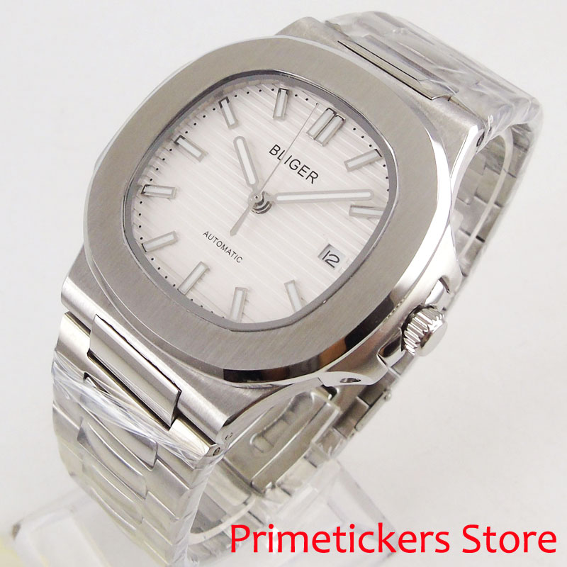 40mm bliger white dial stainless steel luminous hands mens sapphire glass automatic movement wrist watches|Mechanical Watches| |  - title=