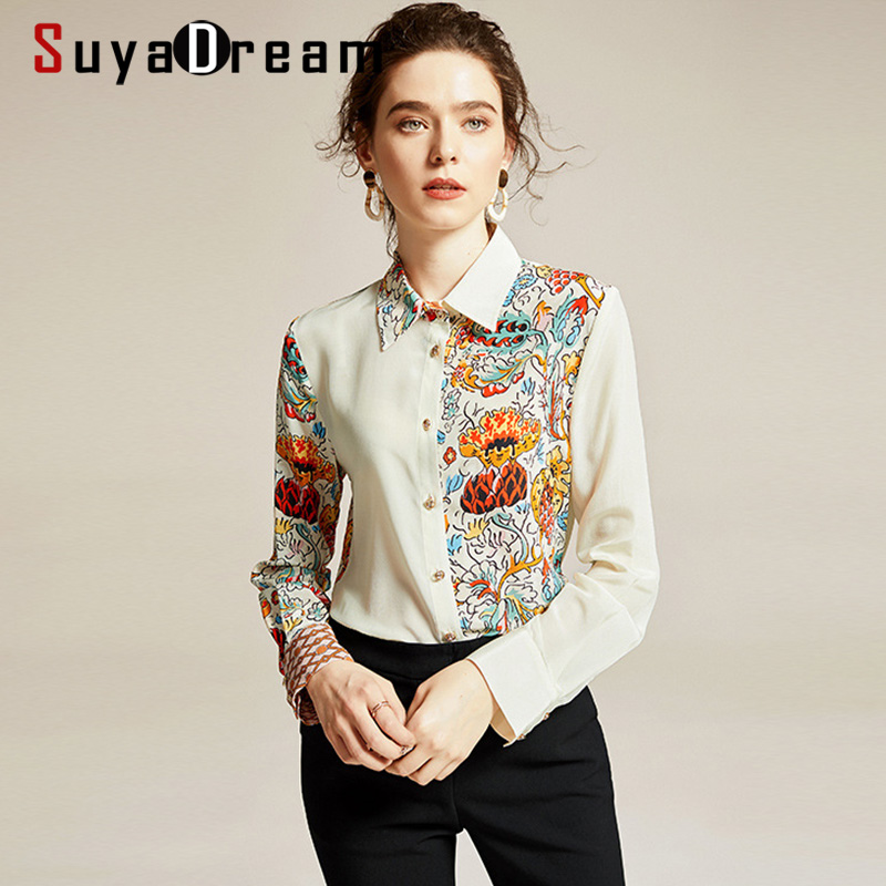 SuyaDream Women Printed Blouses 100% Silk Crepe Long Sleeved Turn Down Collar Contrast Office Blouse Shirt