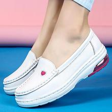 Flats Platform-Loafers Breathable Women Nurse-Shoes Chunky Slip-On White Genuine-Leather