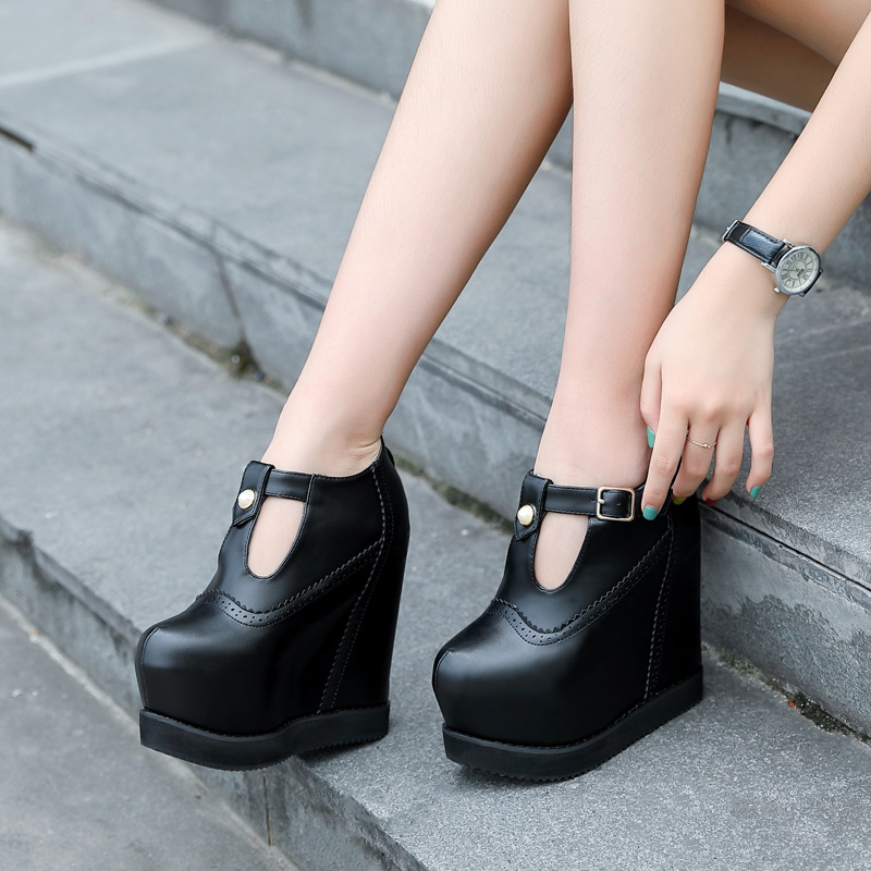Model Catwalk 15 Cm Super High Heel Short Boots European and American Sexy High Heels Wedges Within Increased Womens Ankle Boots