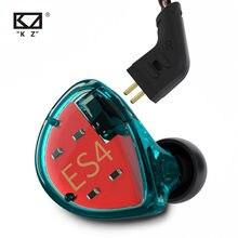 Kz ES4 Oortelefoon Hybride Technologie Eenheden 1DD + 1BA Headset In Ear Monitors Oordopjes Hifi Bass Noise Cancelling Hoofdtelefoon