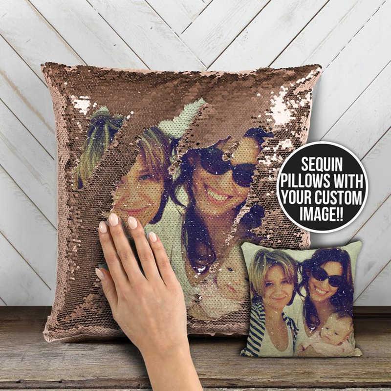 DIY 写真スパンコールクッションカバーカスタマイズ枕カバー車の魔法の変色可逆枕プライベートカスタム