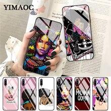 YIMAOC Melanin Poppin Shining Colorful Cute Glass Case for Xiaomi Redmi 4X 6A note 5 6 7 Pro Mi 8 9 Lite A1 A2 F1
