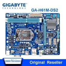 Материнская плата GIGABYTE, материнская плата для настольного ПК H61, разъем LGA 1155, i3, i5, i7, DDR3 16 ГБ, uATX, UEFI BIOS, оригинальная, восстановленная, с восста...