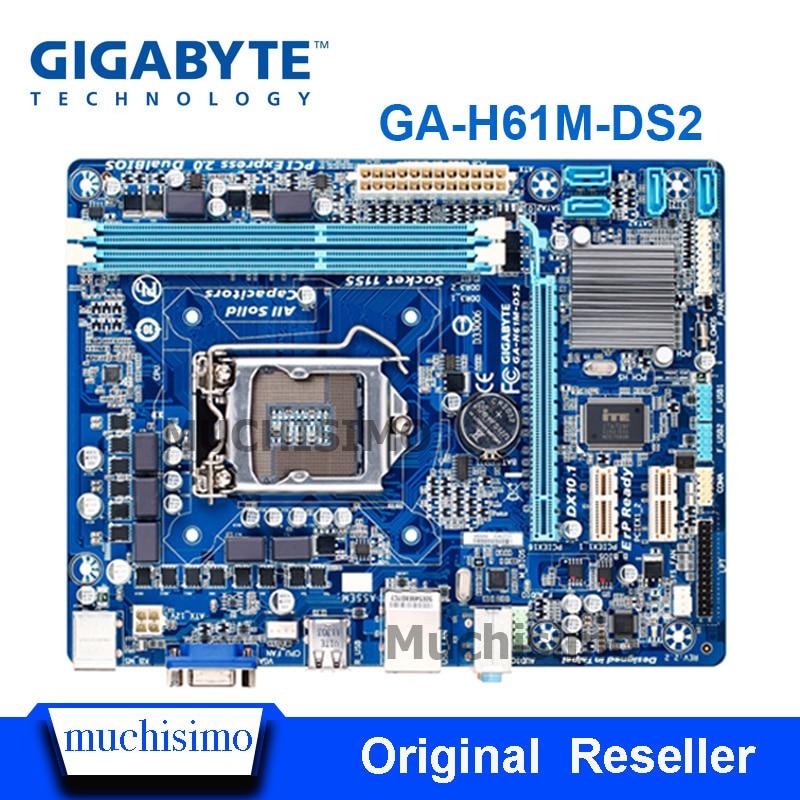 GIGABYTE GA-H61M-DS2 Desktop Motherboard H61 16G uATX Soquete LGA 1155 i3 i5 i7 DDR3 H61M-DS2 UEFI BIOS Original Remodelado