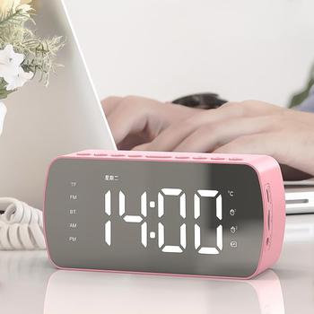 Bezprzewodowy Bluetooth Audio lustro zegar głośnik LED ekran lustrzany budzik zegar cyfrowy Subwoofer dekoracja budzik tanie i dobre opinie OLOEY CN (pochodzenie) SQUARE 69mm DIGITAL 138mm Zegarki z alarmem LUMINOVA Z tworzywa sztucznego 45mm CLASSIC Funkcja drzemki