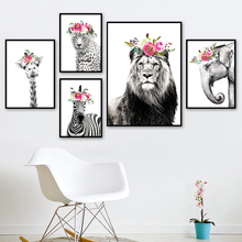 Black And White Lion Elephant Zebra Flower Wall Art Canvas Painting  Nordic Posters Prints Pictures Kids Room