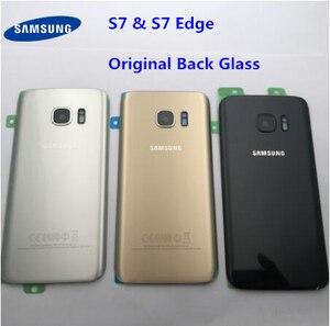 Image 1 - Original Zurück Glas Für Samsung Galaxy S7 G930 G930F S7 Rand G935 Batterie Zurück Abdeckung Tür Gehäuse Ersatz Reparatur Teile