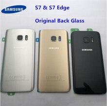 Orijinal arka cam Samsung Galaxy S7 G930 G930F S7 kenar G935 pil arka kapak kapı konut değiştirme onarım parçaları