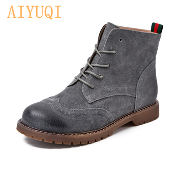 Genuine Leather Women Martin Boots 2020 New Spring Suede Pigskin Women Booties Lace Up Women Ankle Boots aiyuqi women martin boots suede women low heeled 2019 new genuine leather shining boots pointed british wind female ankle boots