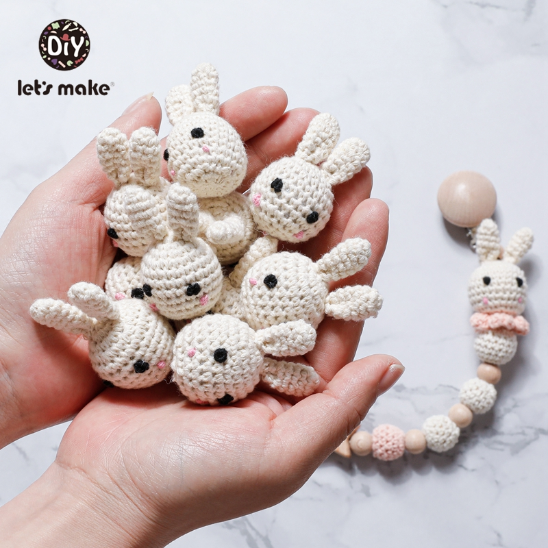 Let's Make Crochet Beads 1pcs DIY Baby Accessories Rodent Animal Rabbit Panda Cotton Childen's Goods Food Grade Teething Toys