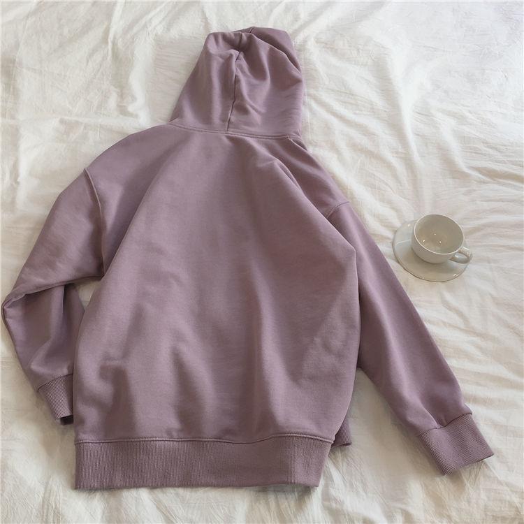 Ha3ccbf22ecdf4d318996fcb6a16c84bc4 Harajuku with hat hoodies women zipper kangaroo pocket casual loose solid color sweatshirt female 2020 fashion new female s