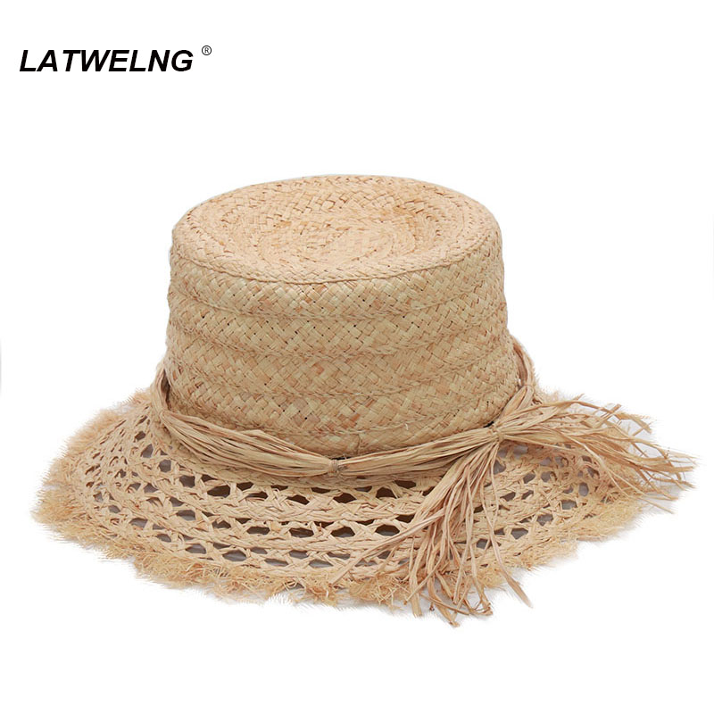 2020 Fashionable Tea Party Hats For Women Foldable Raffia Beach Hat Elegant Summer Sun Bucket Hat Wholesale S1063
