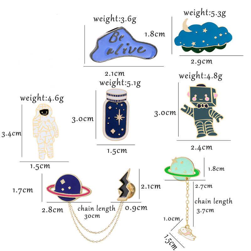 Universo Pianeta Spazio Astronauta Robot Collezione Spilla Star Bottiglia Risvolto Spille Personalizzato Distintivo Dello Smalto Del Fumetto Spille Regalo Dei Monili
