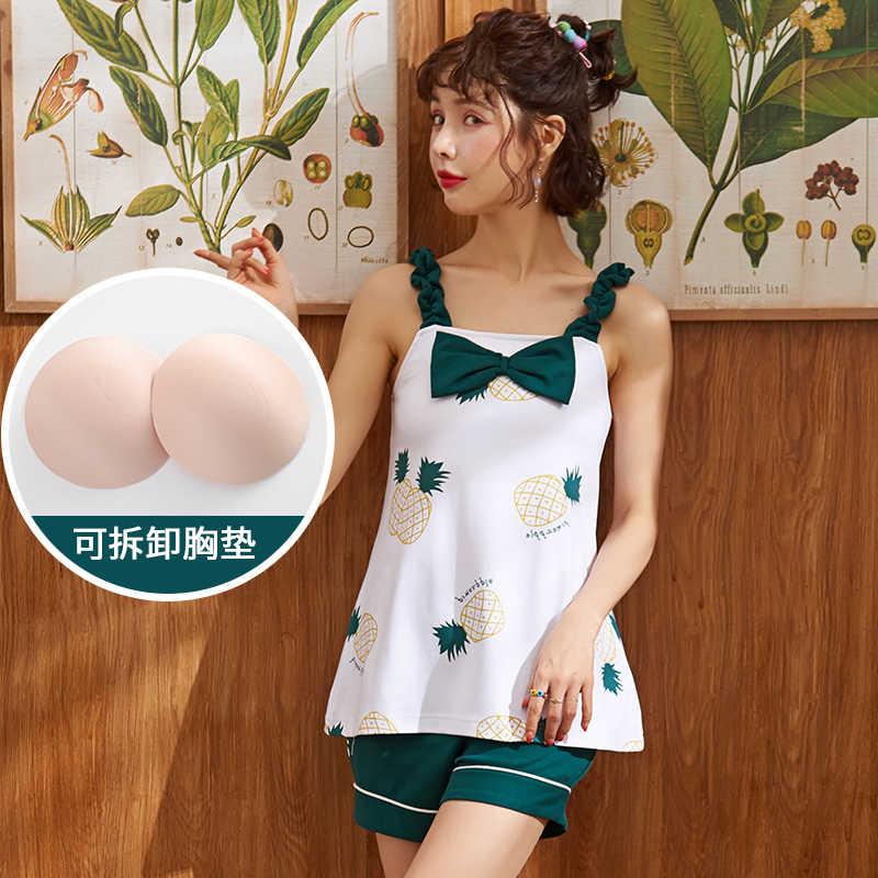 ผ้าฝ้าย breast Pad suspender 2 ชิ้นชุดสไตล์เกาหลีกางเกงขาสั้นนักเรียนบางความงามหวานบ้านเสื้อผ้าชุดนอน