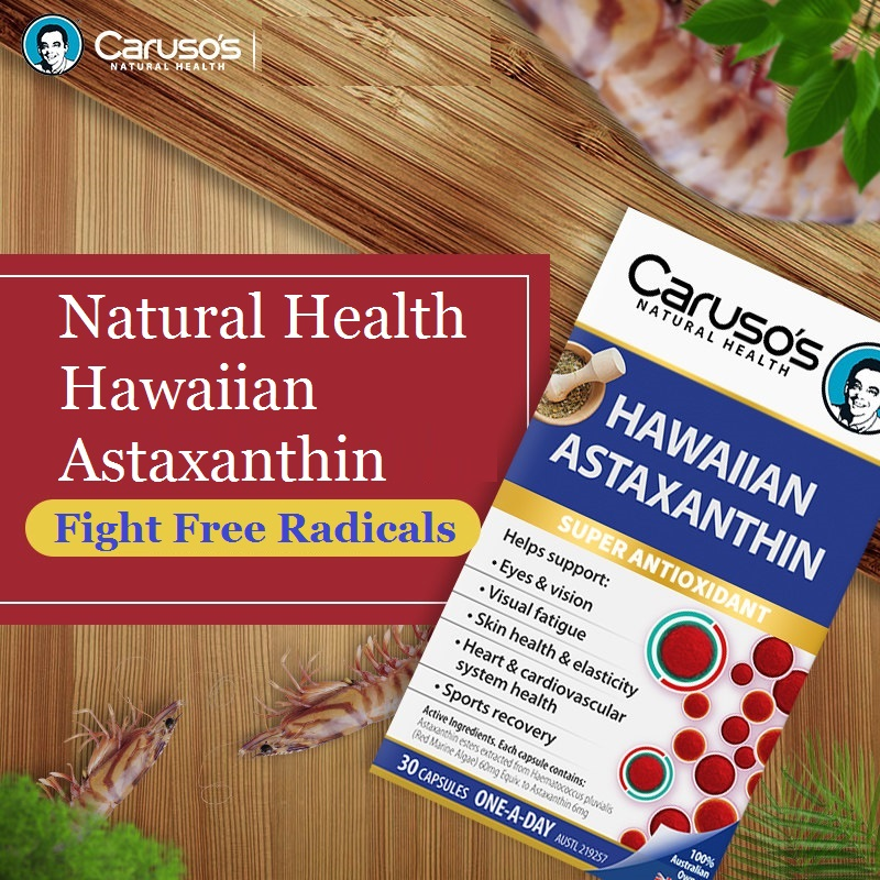 Carusos Hawaiian Astaxanthin Powerful Antioxidant Eye Ageing Skin Heart Cardiovascular Health Recovery After Exercise