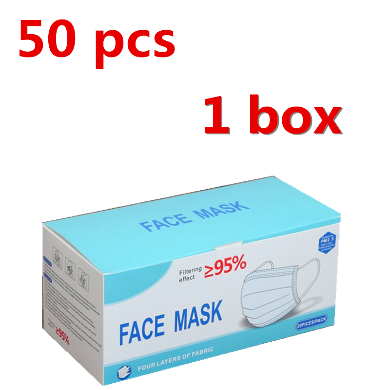 50 Pcs 3-Ply Disposable Mask Comfortable Sanitary Mask For Safe And Breathable Protection And Personal Health