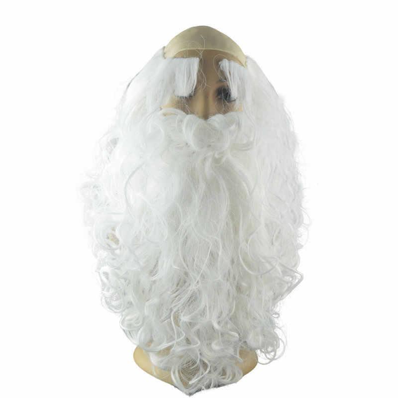 คริสต์มาสของขวัญ Santa Claus วิกผมและเคราสังเคราะห์ผมสั้น COSPLAY Wigs สำหรับชายสีขาว Hairpiece อุปกรณ์เสริม Santa Beard