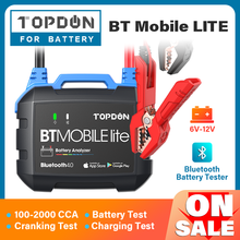 Cranking-Analyzer-Tool Battery-Monitor TOPDON Auto-Charger 12V BT 100-2000cca Mobile-Lite