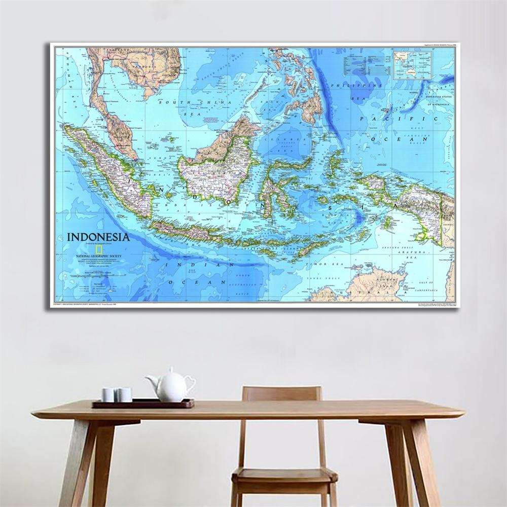 60x90cm HD Indonesia Fine Canvas Map Office Living Room Wall Decor Roll Packaged In Plastic Tube