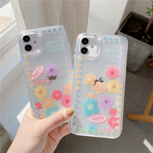 Image 1 - Liquid Quicksand Sliding flowers Phone case For iphone 12 11 pro max 12mini XS MAX X XR 7 8 6S 6 Plus SE2 transparent cover Case