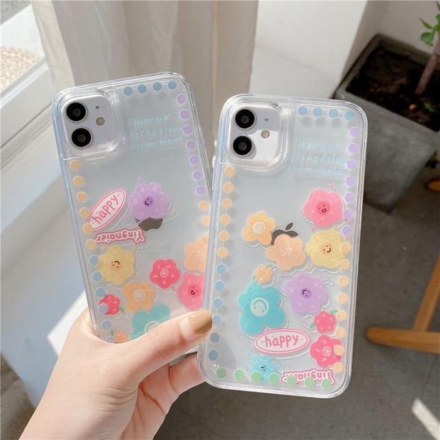 Liquid Quicksand Sliding flowers Phone case For iphone 12 11 pro max 12mini XS MAX X XR 7 8 6S 6 Plus SE2 transparent cover Case
