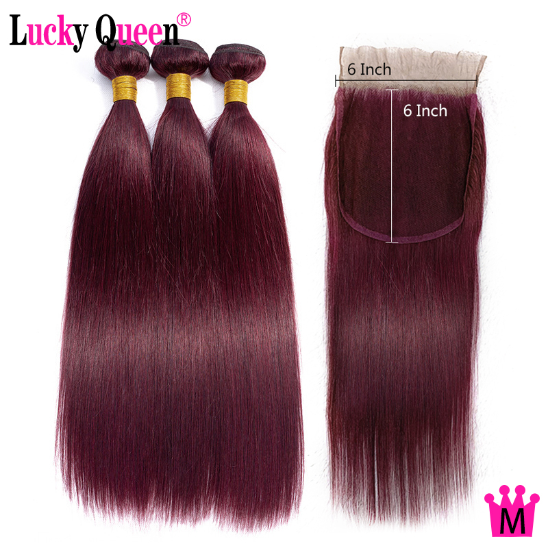 99J Color Brazilian Straight Hair Bundles With 6x6 Lace Closure Lucky Queen Remy Human Hair Bundles With 6*6 Lace Closure
