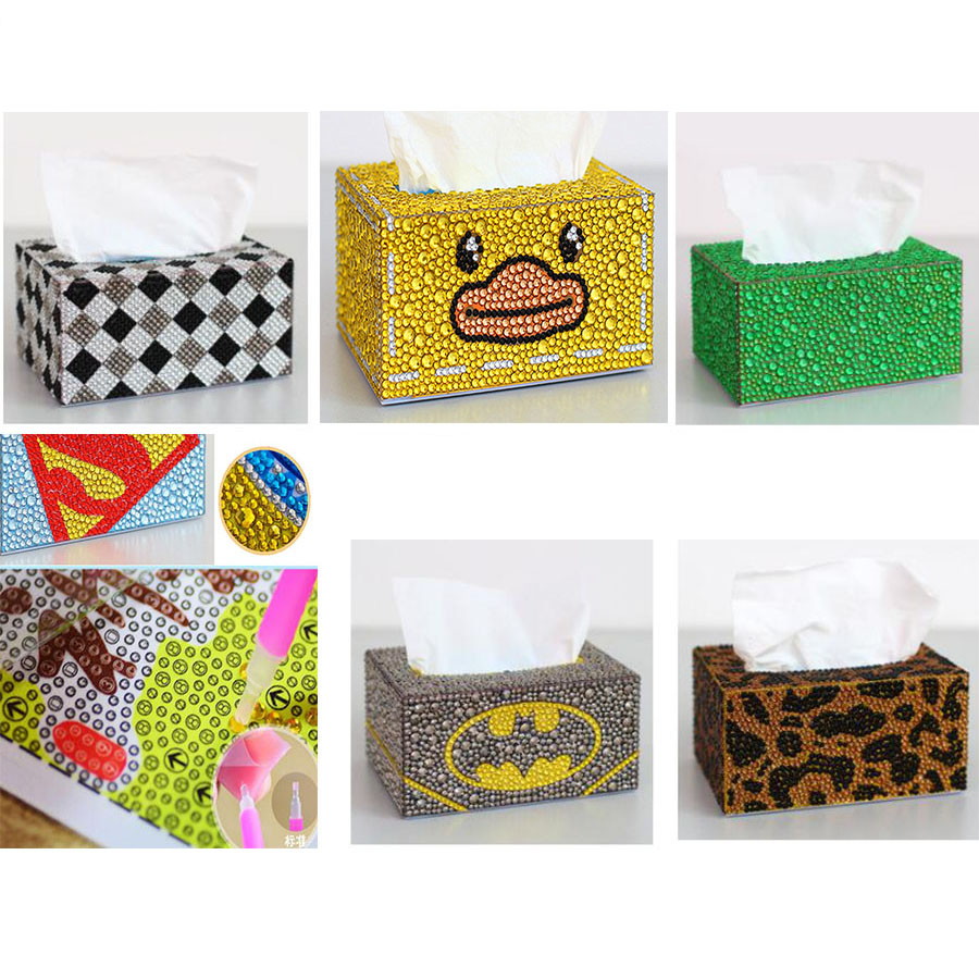 Roll Tissue Box Diamond Painting DIY Cross Stitch Storage Box,Napkin Paper Box,5D Crysta Cartoon Pecial Shape Diamond Embroidery