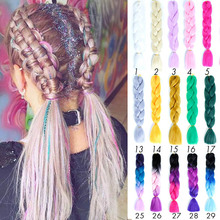 Jumbo Braids Long Ombre Synthetic Braiding Hair Crochet Blonde Pink Blue Grey Extensions African Viscera Accessories