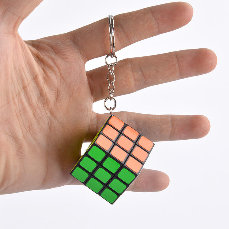 Magic Cubes Keychain 3x3x3 3CM Magic Cubes Pendant Twist Puzzle Kids Toys For Children Gift Magic Cube Key Ring