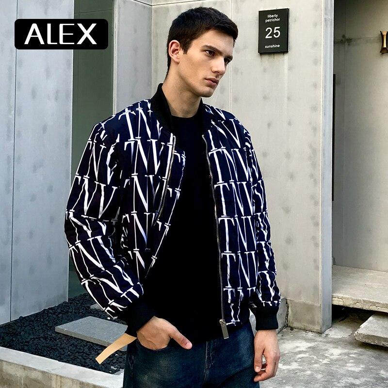 Alex Plein Winter Bomber Jacket Men Letters Graffiti Warm Coats Leisure Wear Mens Fashion Stylish Streetwear Black Best Sell New