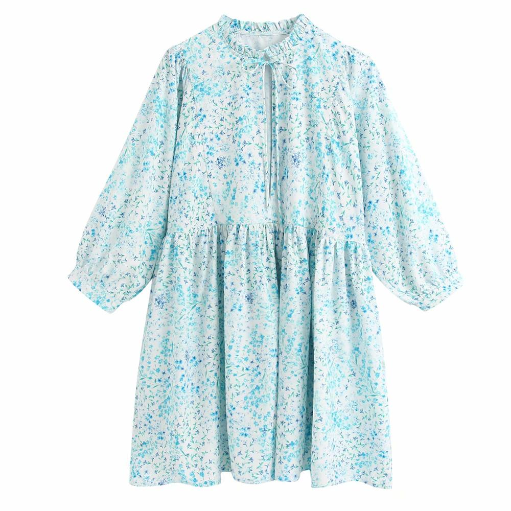 New Women Sweet Agaric Lace Ruffled Collar Print Casual Mini Dress Lady Stylish Lantern Sleeve Vestido Chic Brand Dresses DS3383